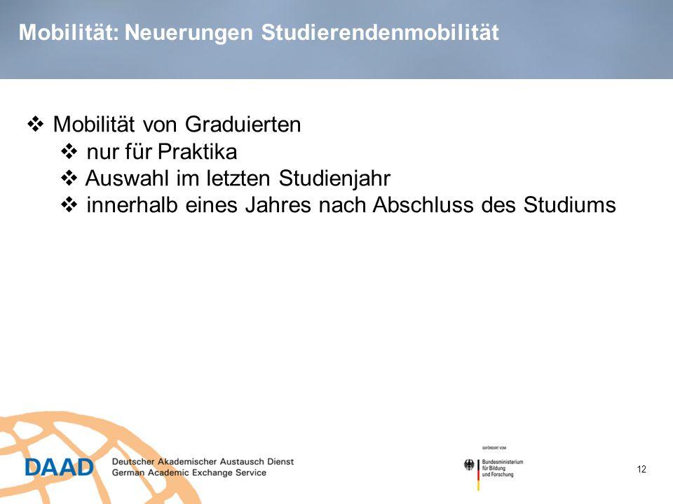 Mobilität: Neuerungen Studierendenmobilität