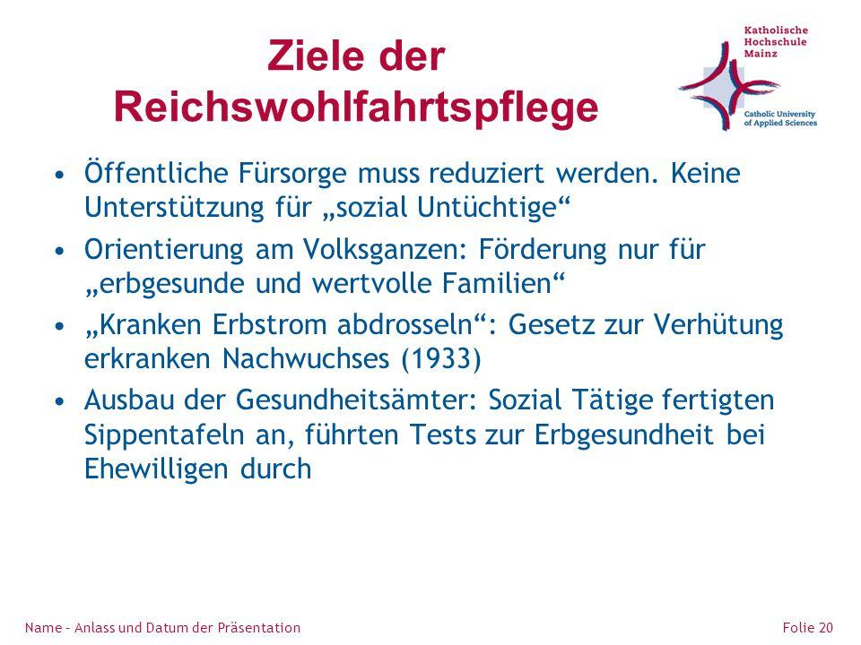 Ziele der Reichswohlfahrtspflege