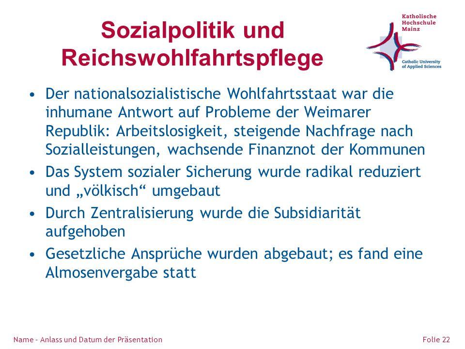 Sozialpolitik und Reichswohlfahrtspflege