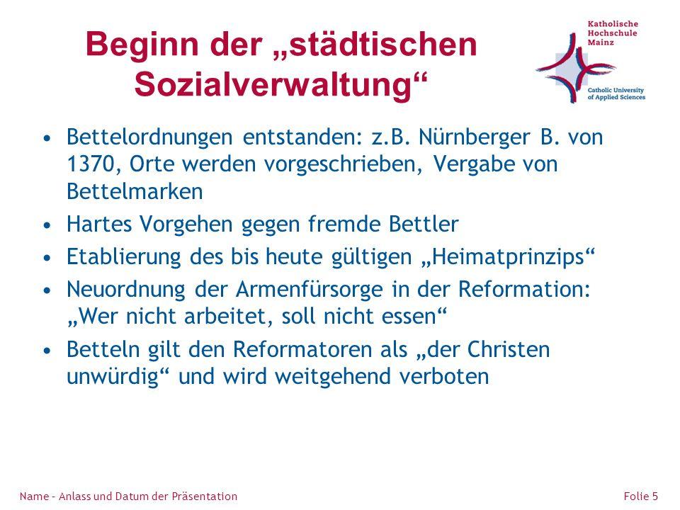 """Beginn der """"städtischen Sozialverwaltung"""
