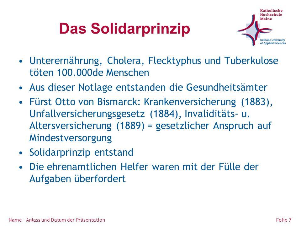 Das Solidarprinzip Unterernährung, Cholera, Flecktyphus und Tuberkulose töten 100.000de Menschen. Aus dieser Notlage entstanden die Gesundheitsämter.