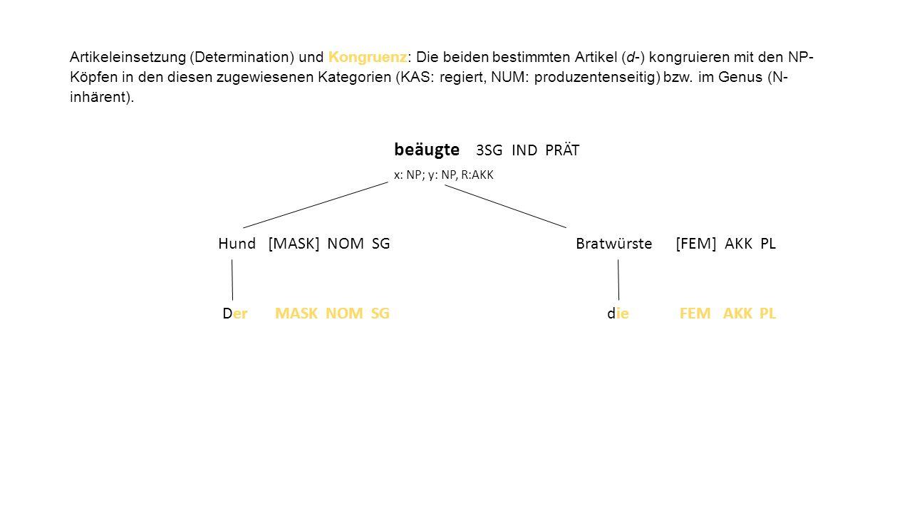 Artikeleinsetzung (Determination) und Kongruenz: Die beiden bestimmten Artikel (d-) kongruieren mit den NP-Köpfen in den diesen zugewiesenen Kategorien (KAS: regiert, NUM: produzentenseitig) bzw. im Genus (N-inhärent).