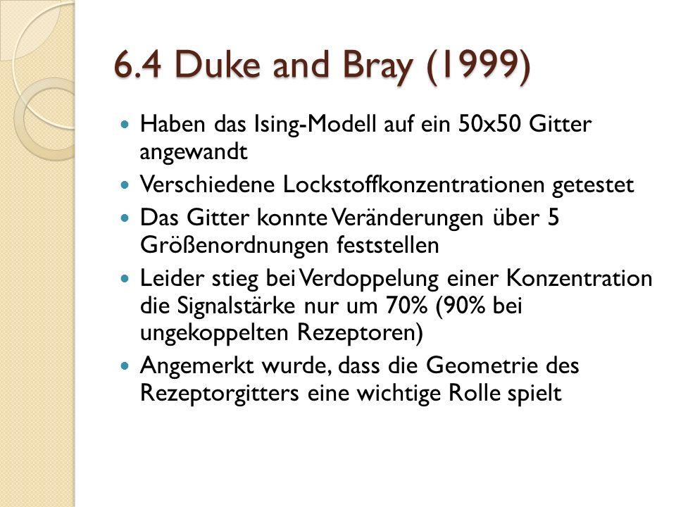 6.4 Duke and Bray (1999) Haben das Ising-Modell auf ein 50x50 Gitter angewandt. Verschiedene Lockstoffkonzentrationen getestet.