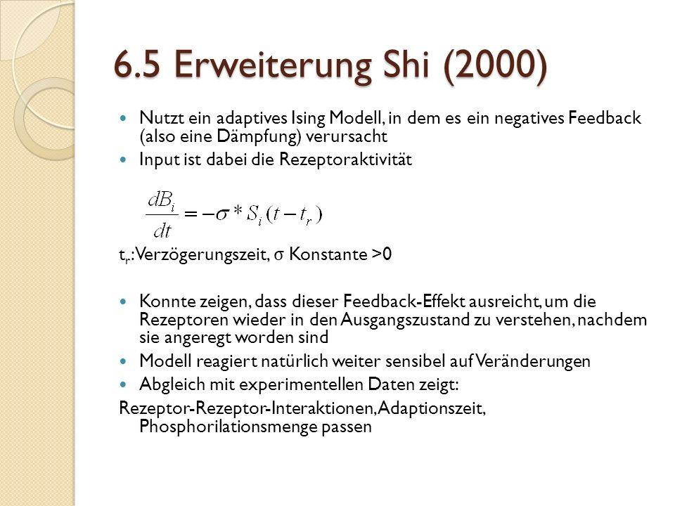 6.5 Erweiterung Shi (2000) Nutzt ein adaptives Ising Modell, in dem es ein negatives Feedback (also eine Dämpfung) verursacht.