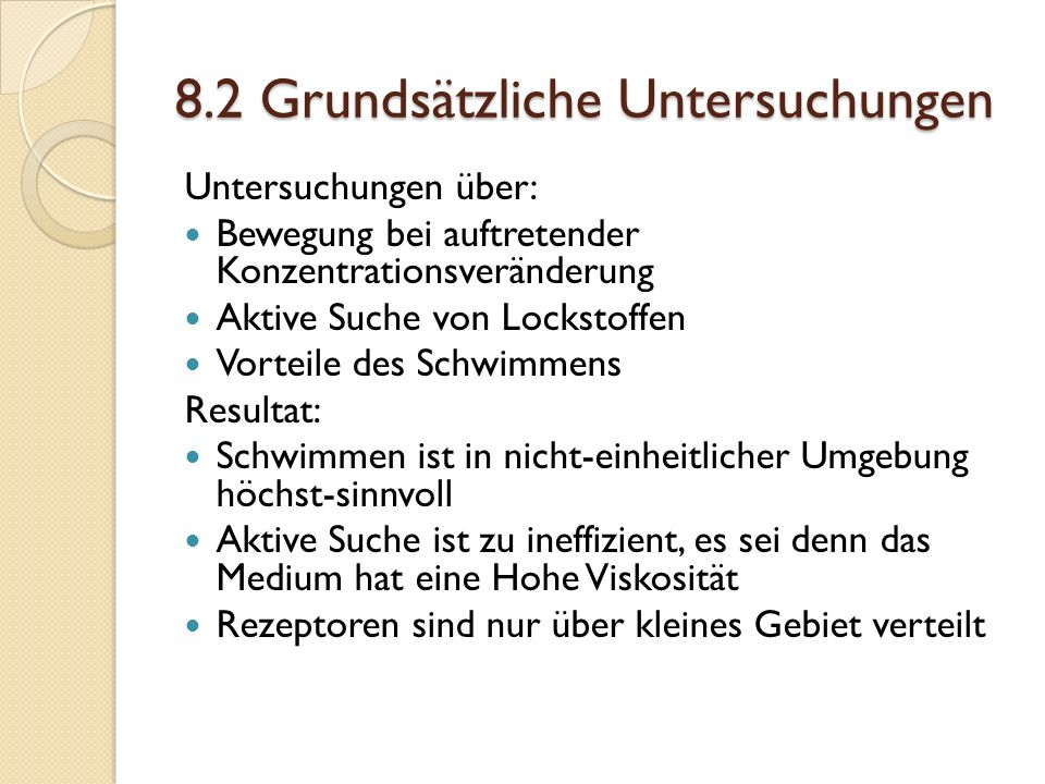 8.2 Grundsätzliche Untersuchungen