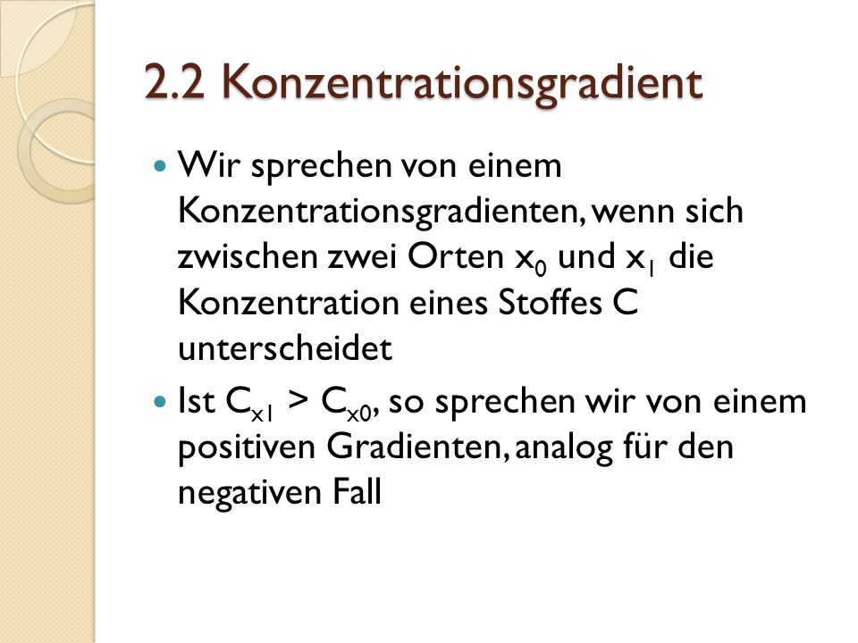 2.2 Konzentrationsgradient