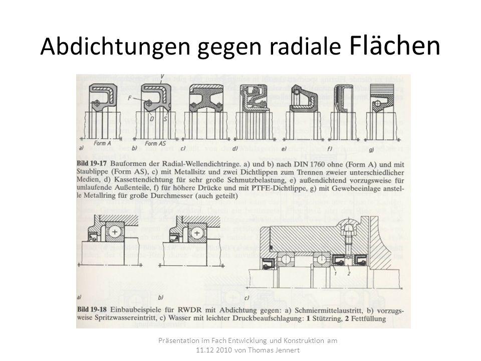 Abdichtungen gegen radiale Flächen