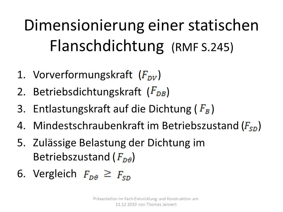 Dimensionierung einer statischen Flanschdichtung (RMF S.245)