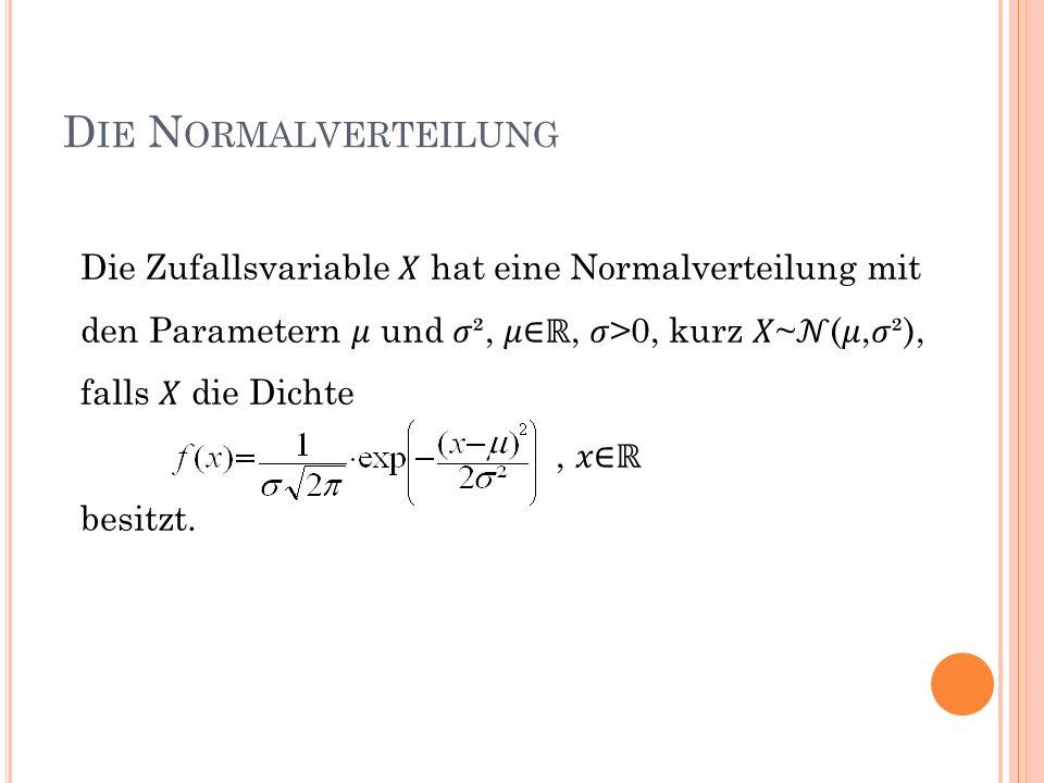 Die Normalverteilung Die Zufallsvariable 𝑋 hat eine Normalverteilung mit den Parametern 𝜇 und 𝜎², 𝜇∈ℝ, 𝜎>0, kurz 𝑋~𝒩(𝜇,𝜎²), falls 𝑋 die Dichte.