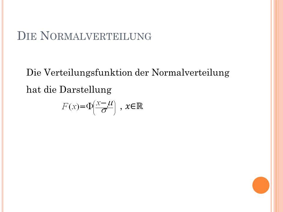 Die Normalverteilung Die Verteilungsfunktion der Normalverteilung