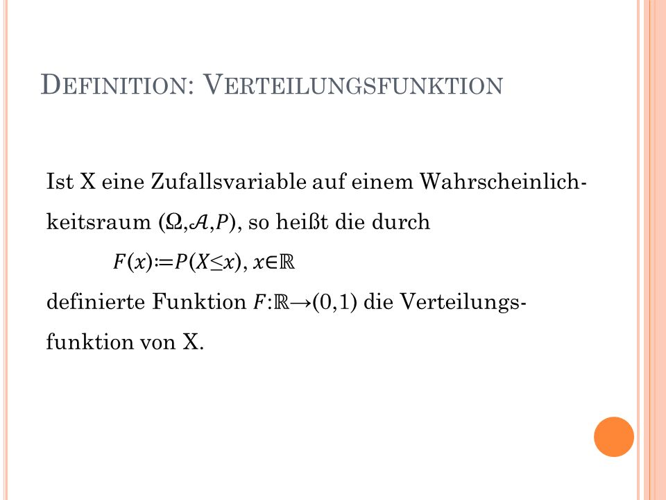 Definition: Verteilungsfunktion