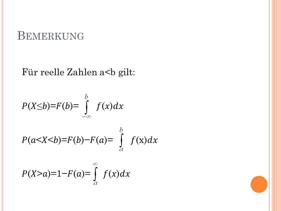 Bemerkung Für reelle Zahlen a<b gilt: 𝑃(𝑋≤𝑏)=𝐹(𝑏)= 𝑓(𝑥)𝑑𝑥