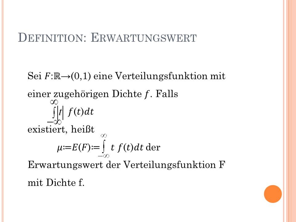 Definition: Erwartungswert