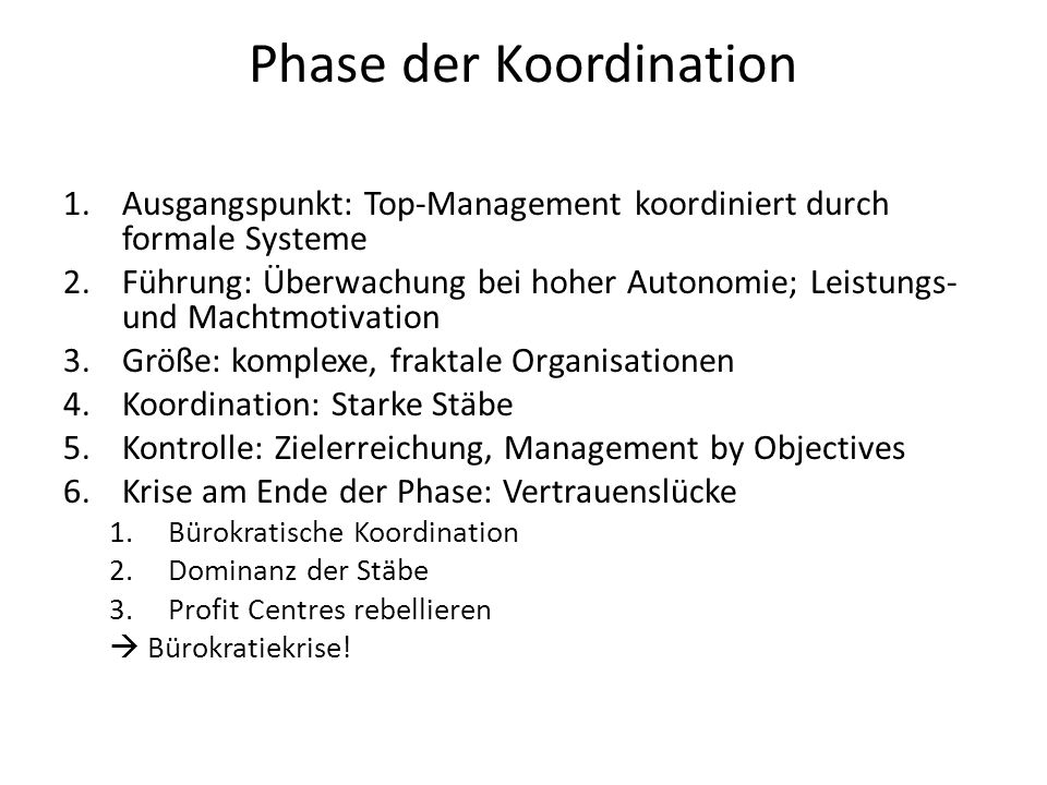 Phase der Koordination