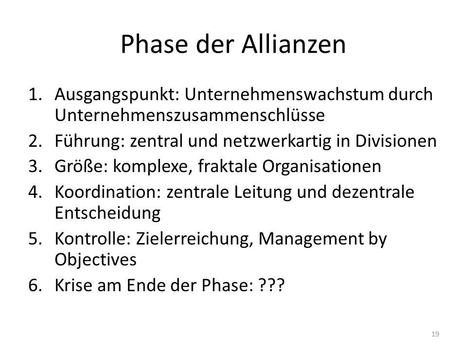 Phase der Allianzen Ausgangspunkt: Unternehmenswachstum durch Unternehmenszusammenschlüsse. Führung: zentral und netzwerkartig in Divisionen.