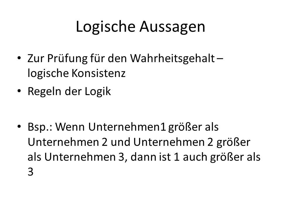 Logische AussagenZur Prüfung für den Wahrheitsgehalt – logische Konsistenz. Regeln der Logik.