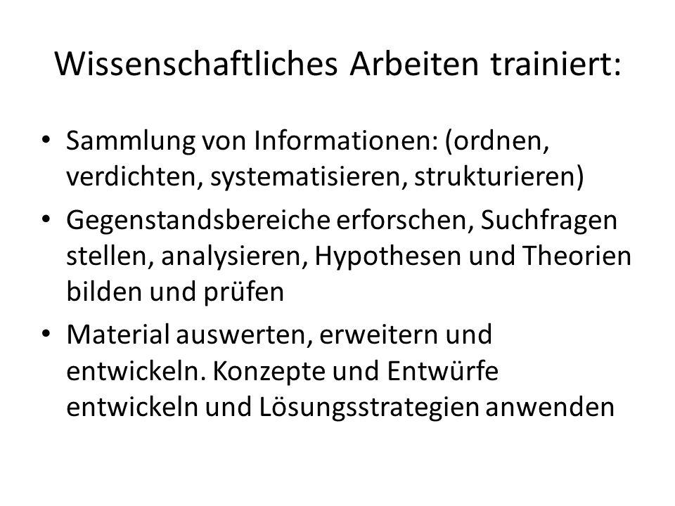 Wissenschaftliches Arbeiten trainiert: