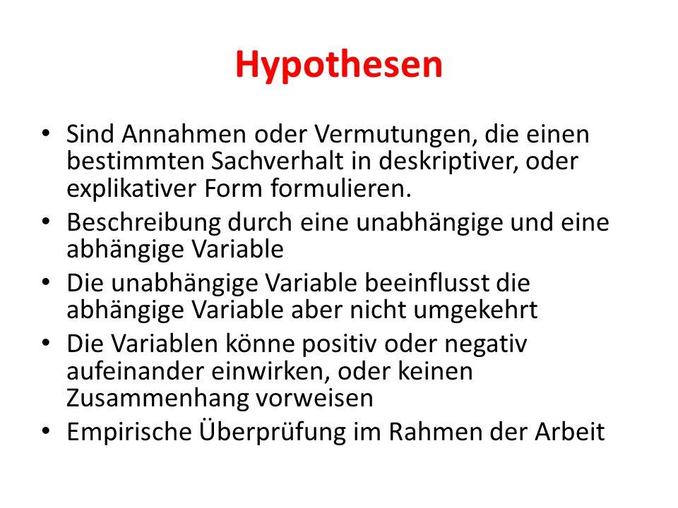 HypothesenSind Annahmen oder Vermutungen, die einen bestimmten Sachverhalt in deskriptiver, oder explikativer Form formulieren.