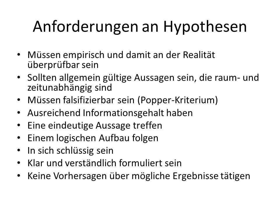 Anforderungen an Hypothesen
