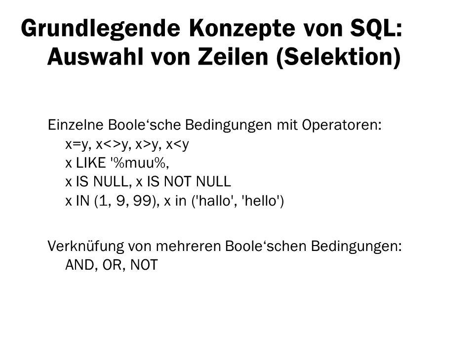 Grundlegende Konzepte von SQL: Auswahl von Zeilen (Selektion)