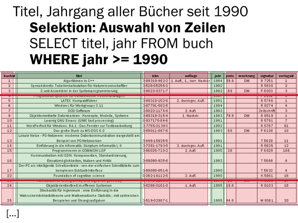 Titel, Jahrgang aller Bücher seit 1990 Selektion: Auswahl von Zeilen SELECT titel, jahr FROM buch WHERE jahr >= 1990