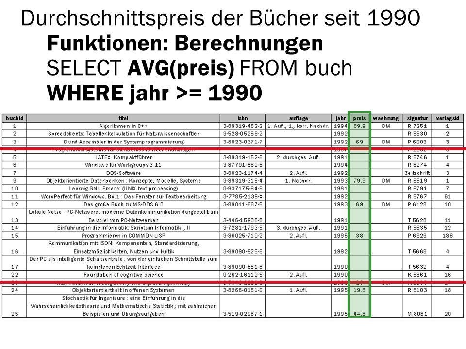 Durchschnittspreis der Bücher seit 1990 Funktionen: Berechnungen SELECT AVG(preis) FROM buch WHERE jahr >= 1990