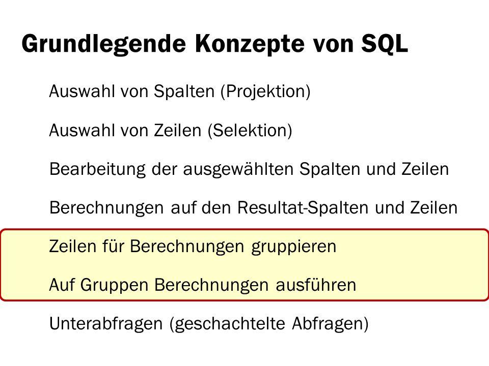 Grundlegende Konzepte von SQL