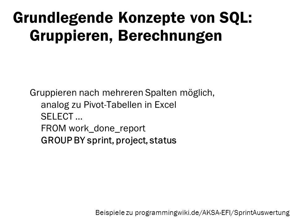 Grundlegende Konzepte von SQL: Gruppieren, Berechnungen