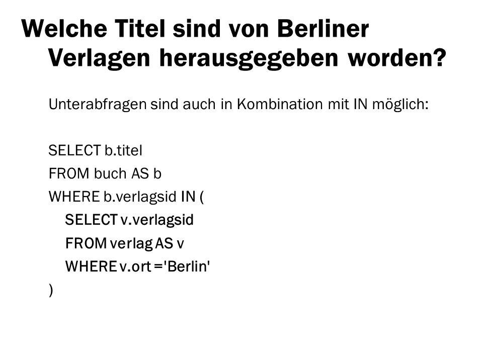 Welche Titel sind von Berliner Verlagen herausgegeben worden