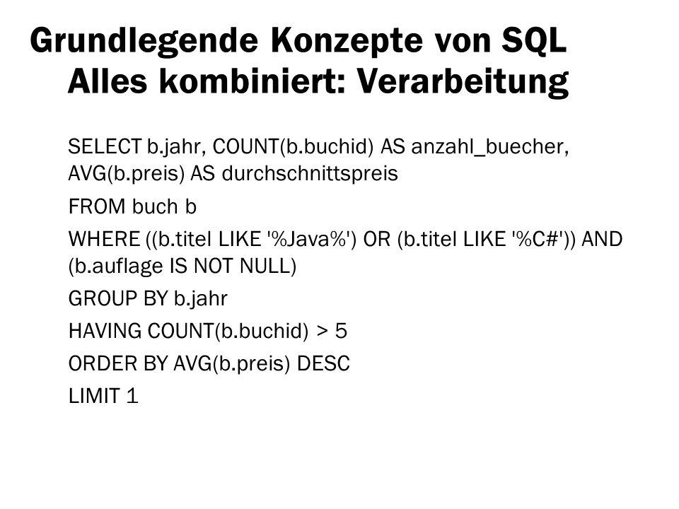 Grundlegende Konzepte von SQL Alles kombiniert: Verarbeitung