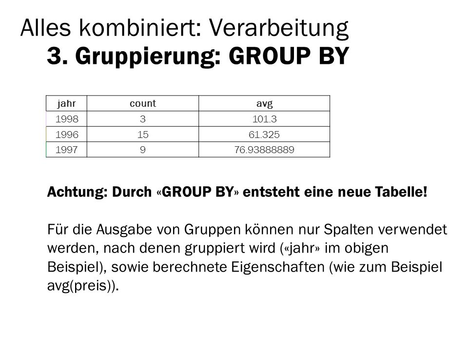 Alles kombiniert: Verarbeitung 3. Gruppierung: GROUP BY