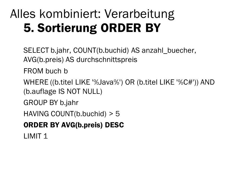 Alles kombiniert: Verarbeitung 5. Sortierung ORDER BY