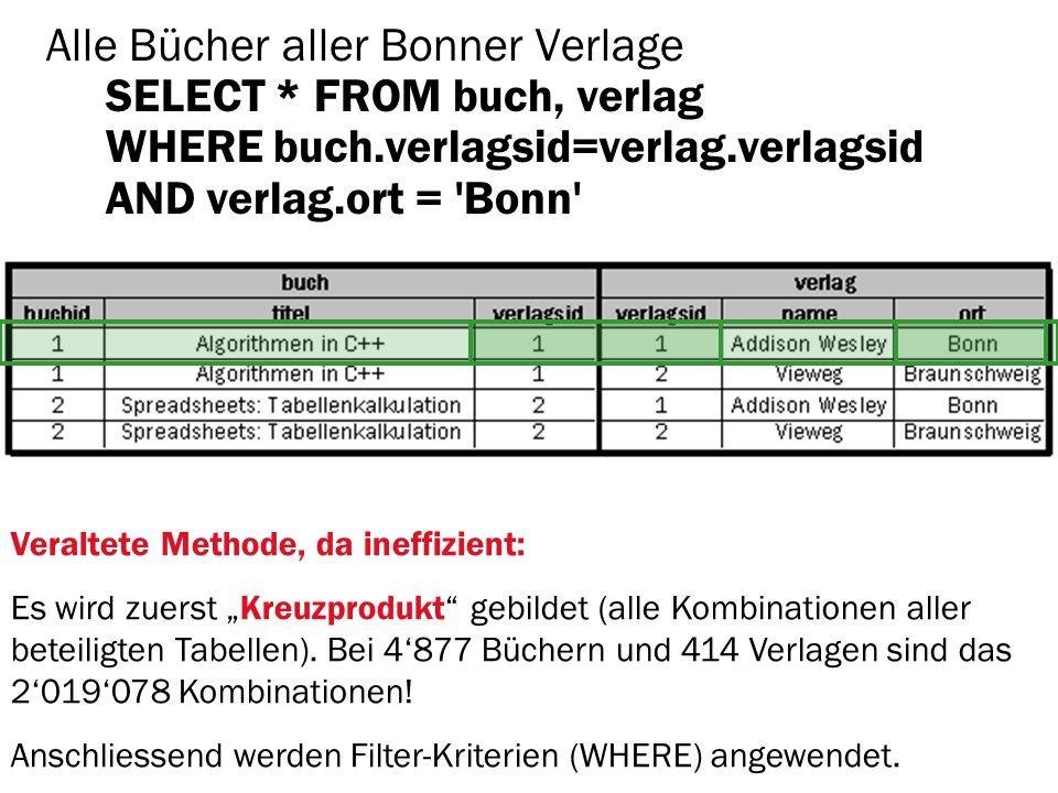 Alle Bücher aller Bonner Verlage SELECT. FROM buch, verlag WHERE buch
