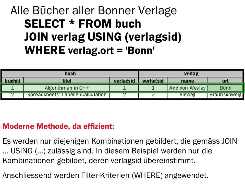 Alle Bücher aller Bonner Verlage SELECT