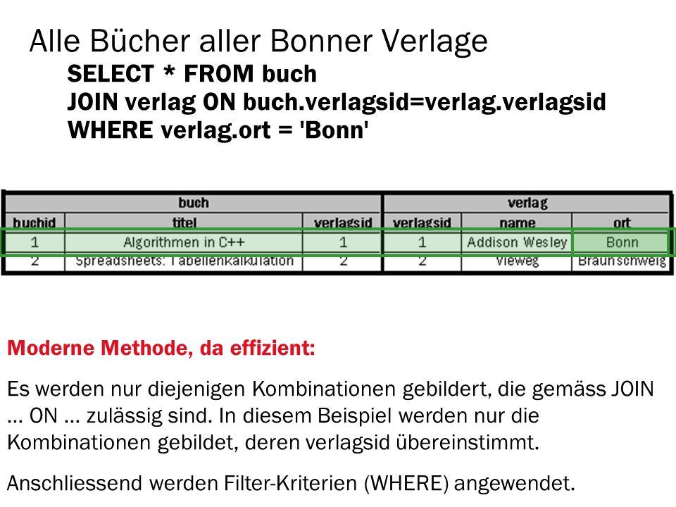 Alle Bücher aller Bonner Verlage SELECT. FROM buch JOIN verlag ON buch