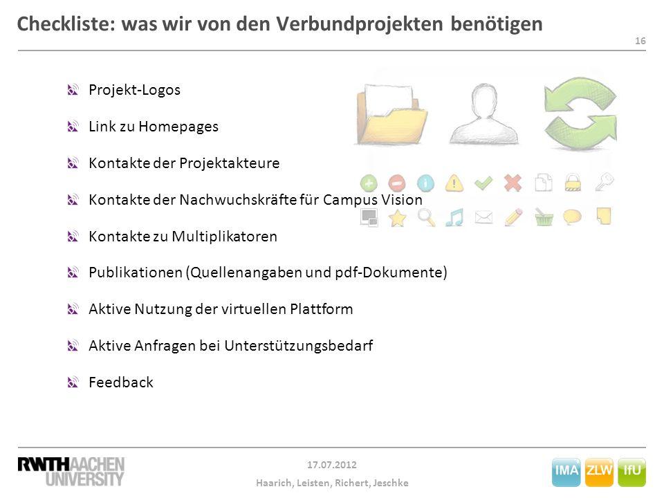 Checkliste: was wir von den Verbundprojekten benötigen