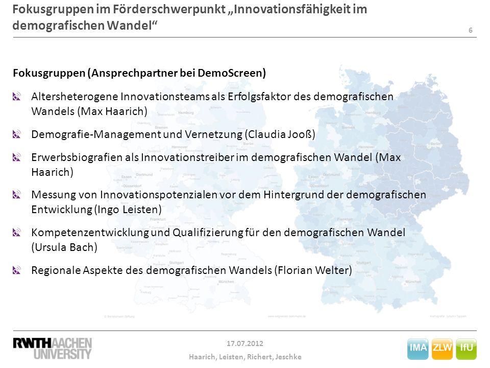 """Fokusgruppen im Förderschwerpunkt """"Innovationsfähigkeit im demografischen Wandel"""