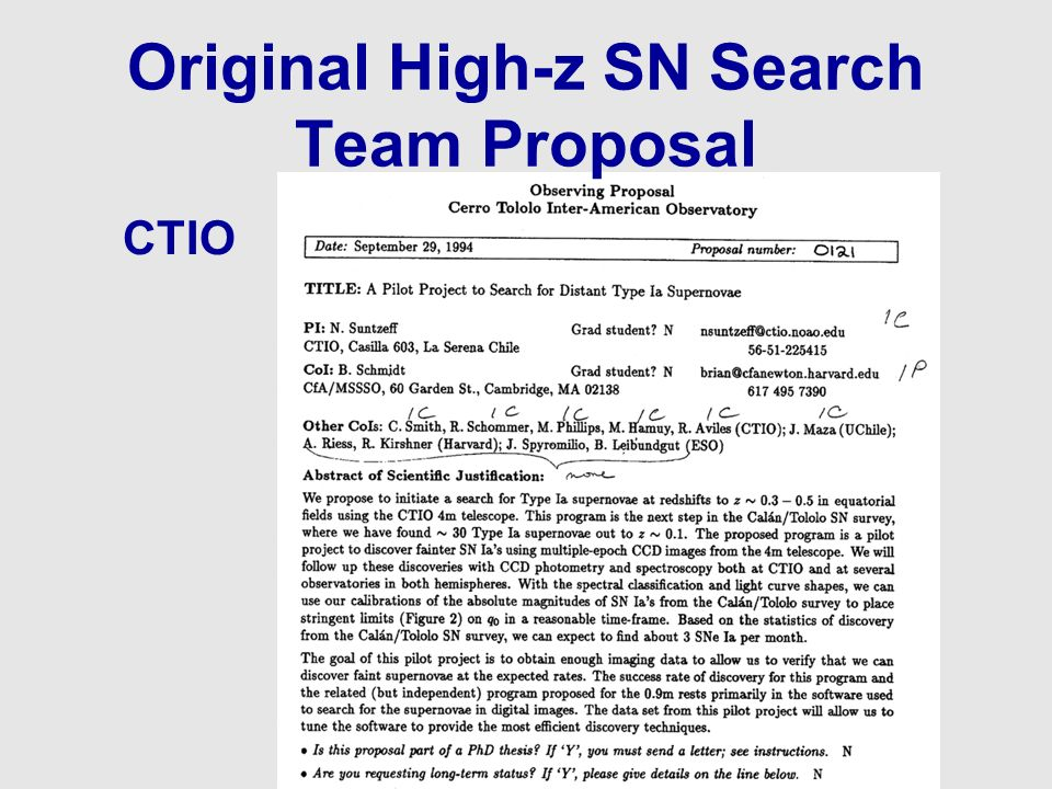 Original High-z SN Search Team Proposal