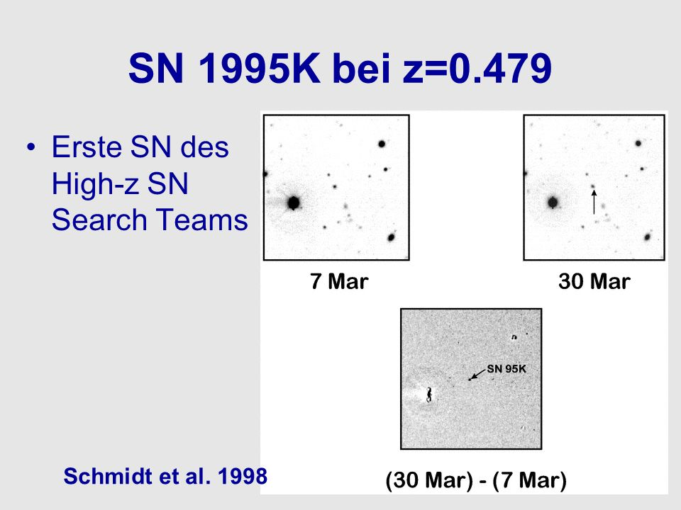 SN 1995K bei z=0.479 Erste SN des High-z SN Search Teams