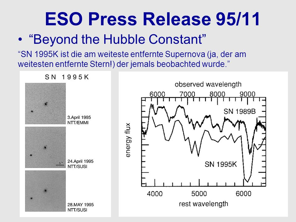 ESO Press Release 95/11 Beyond the Hubble Constant