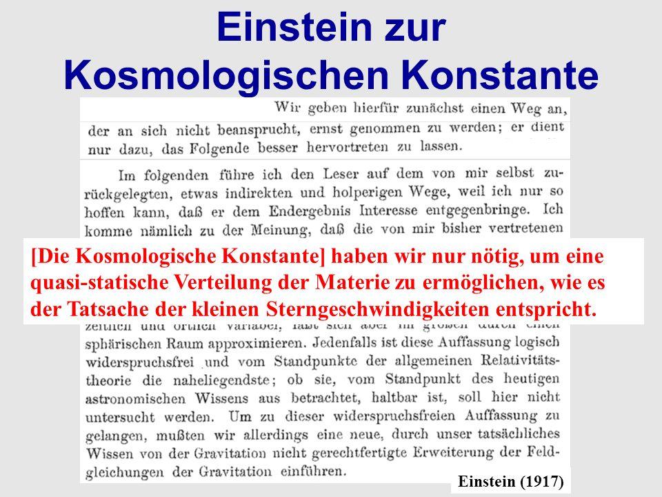Einstein zur Kosmologischen Konstante