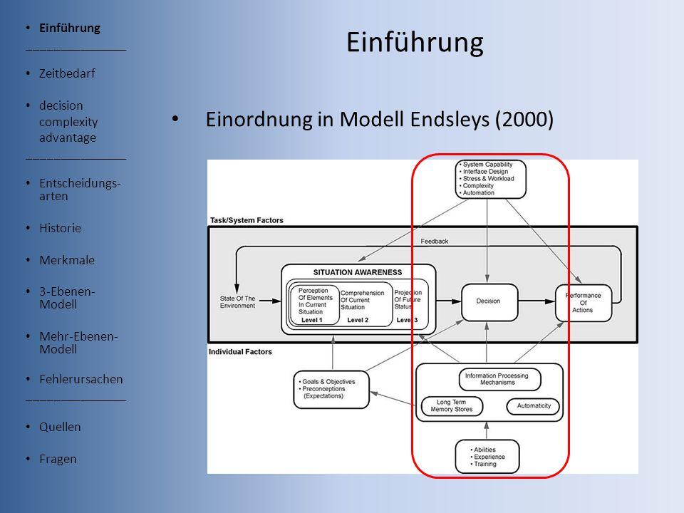 Einführung Einordnung in Modell Endsleys (2000) Einführung