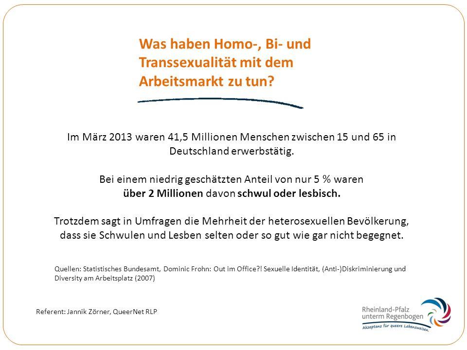 Was haben Homo-, Bi- und Transsexualität mit dem Arbeitsmarkt zu tun