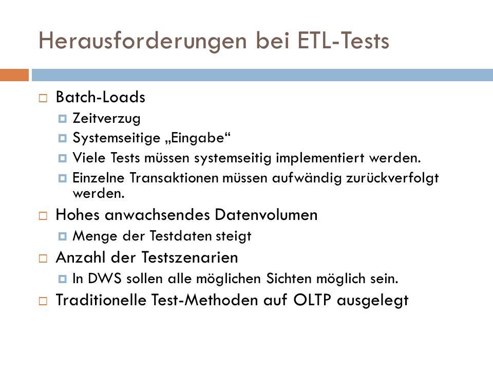 Herausforderungen bei ETL-Tests