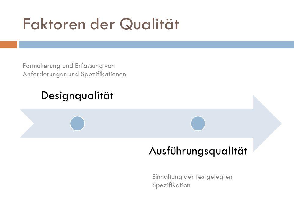 Faktoren der Qualität Designqualität Ausführungsqualität