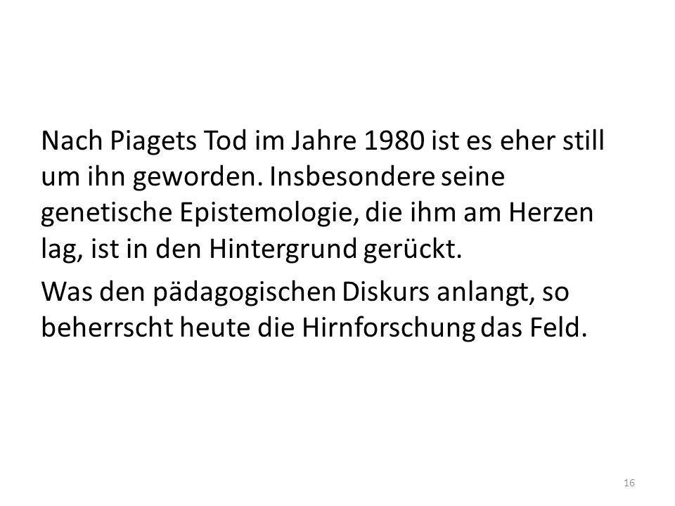 Nach Piagets Tod im Jahre 1980 ist es eher still um ihn geworden