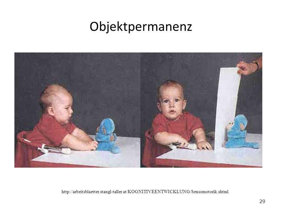 Objektpermanenz http://arbeitsblaetter.stangl-taller.at/KOGNITIVEENTWICKLUNG/Sensomotorik.shtml