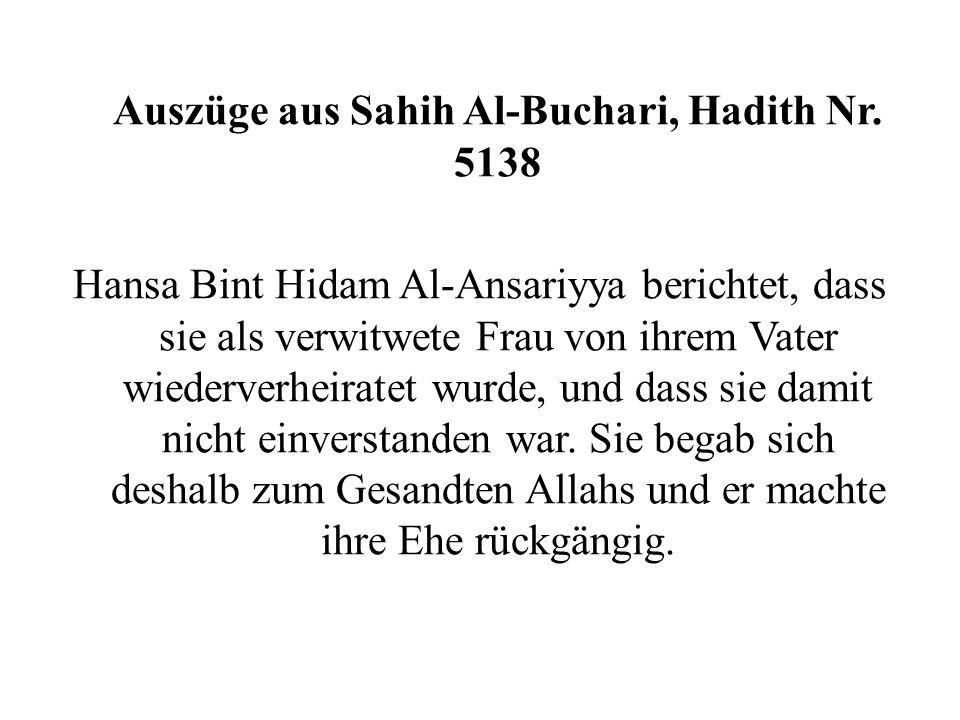 Auszüge aus Sahih Al-Buchari, Hadith Nr. 5138