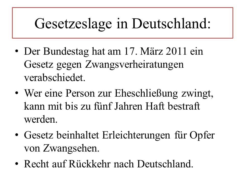 Gesetzeslage in Deutschland: