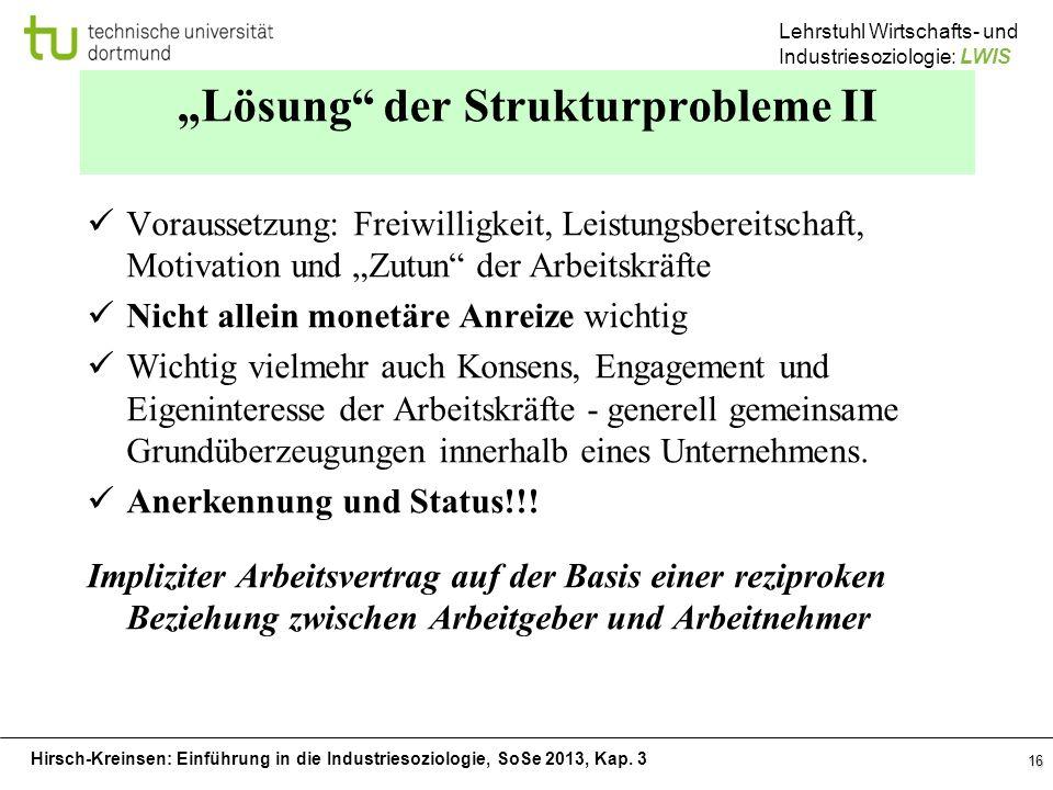 """""""Lösung der Strukturprobleme II"""